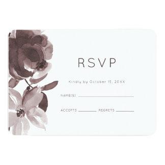 Modern Plum Floral Wedding RSVP Card