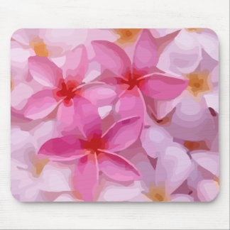 Modern Plumeria - Abstract Pink Flowers Mouse Pad