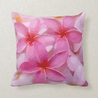 Modern Plumeria - Abstract Pink Flowers Throw Pillow