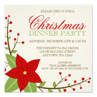 Modern Poinsettia Christmas Holiday Dinner Party Card