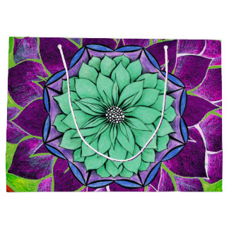 MODERN POINSETTIA in BLUE / PURPLE Large Gift Bag