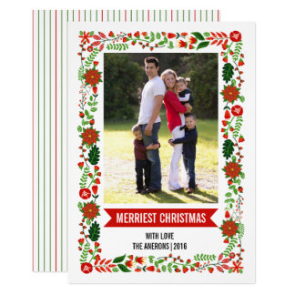 Modern poinsettias red and green Christmas photo Card