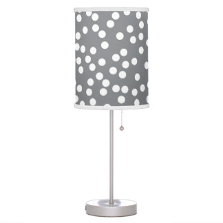 Modern Polka Dot Lamp in Gray