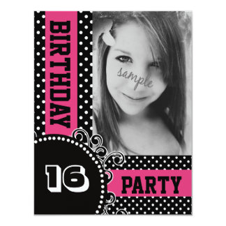 "Modern Polka Dots Pink Girl Party with Photo 4.25"" X 5.5"" Invitation Card"