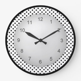 Modern Polkadot Black and White Large Clock
