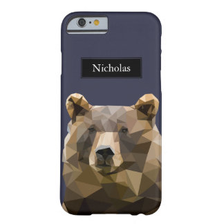 Modern Polygon Bear Head Custom Name Barely There iPhone 6 Case