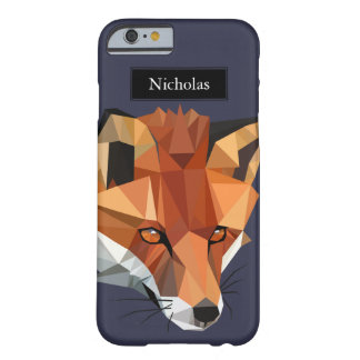 Modern Polygon Fox Head Custom Name Barely There iPhone 6 Case