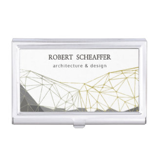 Modern Polygonal Geometric Professional Pattern Business Card Holder