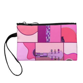 Modern Pop Art Acoustic Guitar in Pink and Purple Coin Wallets
