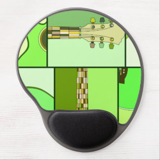 Modern Pop Art Acoustic Guitar in Shades of Green Gel Mouse Pad