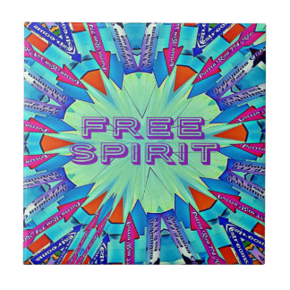 Modern Pop Colors Arrows Pointing Free Spirit Tile