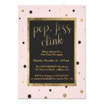 "Modern pop fizz clink confetti New Years Eve Party 5"" X 7"" Invitation Card"