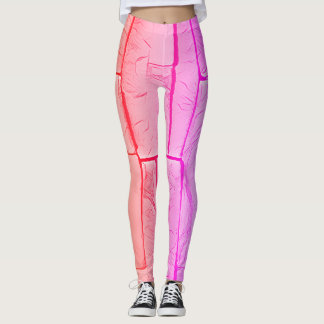Modern Pop Neon Pastel Pink Peach Brick Pattern Leggings