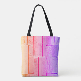 Modern Pop Neon Pastel Pink Peach Brick PatternVib Tote Bag