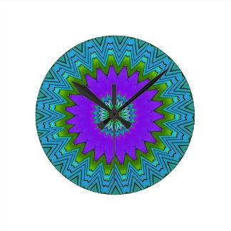Modern Pop Purple Green Coloured Mandala Clocks