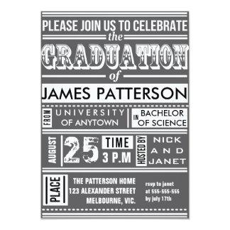 "Modern poster graduation party 5"" x 7"" invitation card"