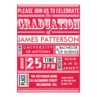 Modern poster graduation party personalized invite