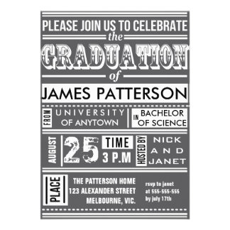 Modern poster graduation party custom announcement