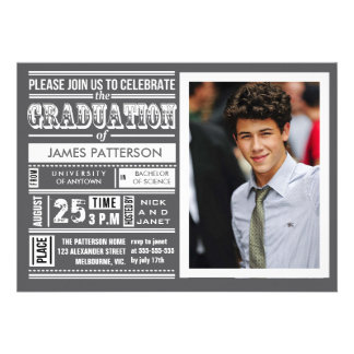 Modern poster graduation party invites