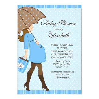 Modern Pregnant Mom Blue Boy Baby Shower Card