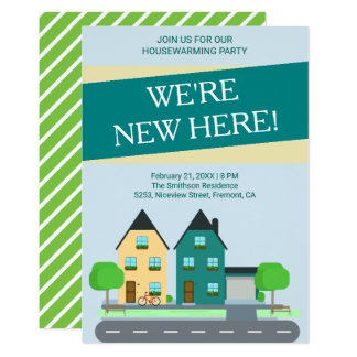 Modern Preppy Blue Green Housewarming Party Invite