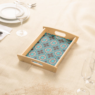 Modern Prertty Abstract Blue And Black Seamless Serving Tray