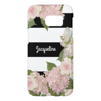 Modern Pretty Hydrangea Rose Black White Striped Samsung Galaxy S7 Case