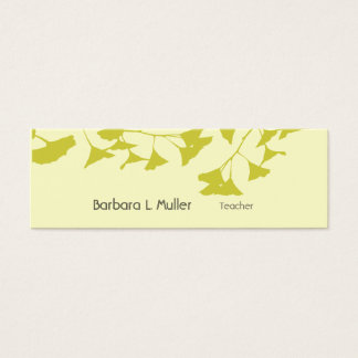 Modern Professional Ginkgo Leaf Nature minimal Mini Business Card