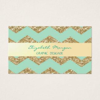 Modern Professional Mint,Glittery  Zigzag Chevron Business Card