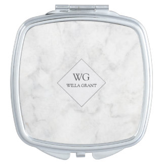 Modern Professional Monogrammed White Marble Vanity Mirror