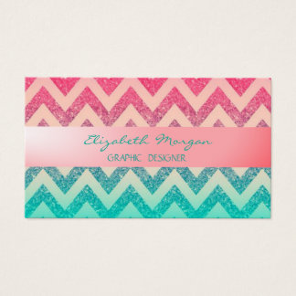 Modern Professional Ombre Zigzag Chevron Business Card