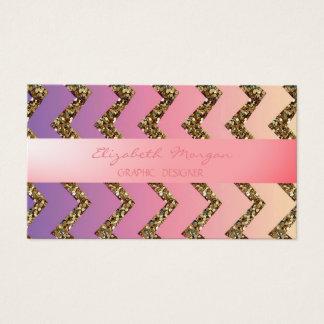 Modern Professional Ombre Zigzag Chevron,Glittery Business Card