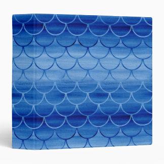 Modern Prussian Blue Painted Watercolor Scales Binders