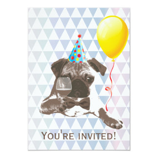 Modern Pug & Wine Birthday Party Invitations