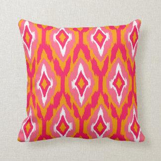 Modern pumpkin pink fuchsia Ikat Tribal Pattern 1a Throw Pillow