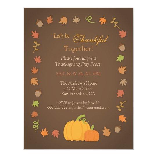 Modern Pumpkin Thanksgiving Party Invitations