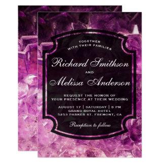 Modern Purple Amethyst Gemstone Wedding Invitation