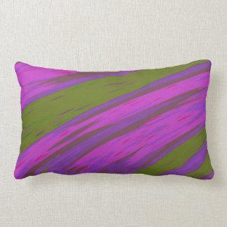 Modern Purple and Green Color Swish abstract Lumbar Pillow