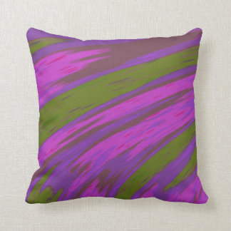 Modern Purple and Green Colour Abstract Design Throw Pillow