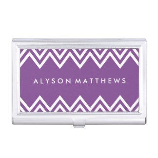 Modern Purple and White Chevron Business Card Holder