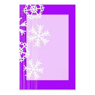 Modern purple and white Christmas snowflakes Custom Stationery