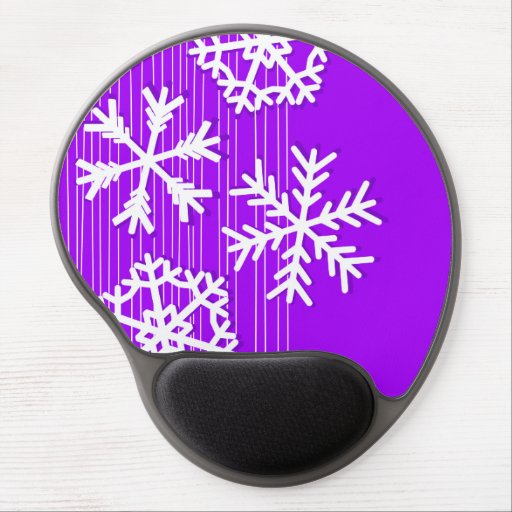 Modern purple and white Christmas white snowflakes Gel Mousepad