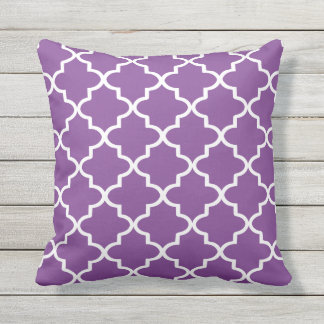 Modern Purple and White Moroccan Quatrefoil Outdoor Pillow