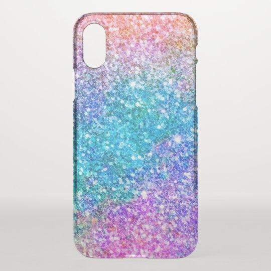 Modern Purple & Blue Faux Glitter Ombre iPhone X Case