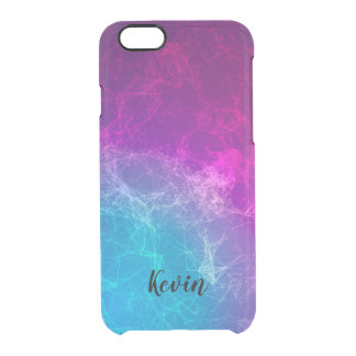 Modern Purple & Blue Polygonal Background Clear iPhone 6/6S Case