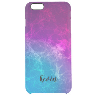 Modern Purple & Blue Polygonal Background Clear iPhone 6 Plus Case