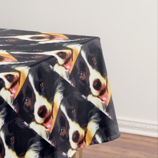 modern purple Border collie Tablecloth