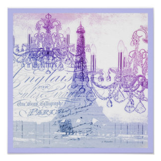 modern purple chandelier paris eiffel tower poster