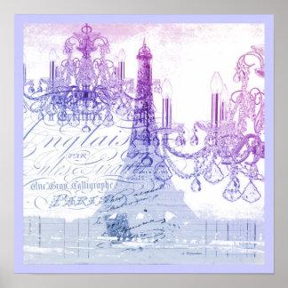 modern purple chandelier paris eiffel tower print
