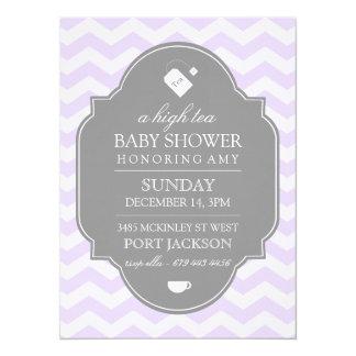 Modern Purple Chevron High Tea Baby Shower Invite